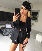 Pearls decoration Women Sexy Office Business Suits with Shorts Slim Full Sleeve Cardigan Blazer Coat 2 Piece Set Club Costumes