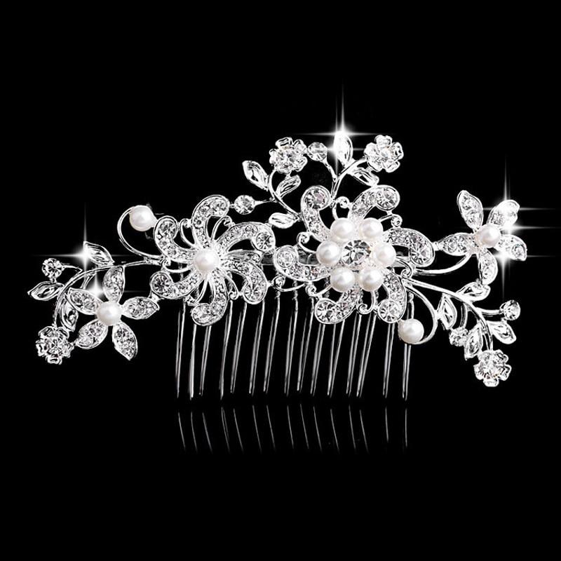 Hello Beauty Ornament Store Charm Flower Rhinestone Hair Slide Floral Head Piece Pearl Wedding Hair Comb Clip Crystal Bridal Hairpin Jewelry Hair Accessory