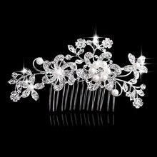 Charm Flower Rhinestone font b Hair b font Slide Floral font b Head b font Piece