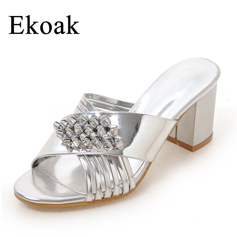 Ekoak New 2018 Fashion Women Sandals Patent Leather Summer Women Shoes Ladies Sexy Open Toe High Heels Party Shoes Woman new women sandals thin high heels open toe sexy party spring summer women shoes high heels sandals woman lyx7 q10