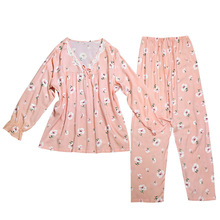 2019 new spring and autumn long-sleeved pajamas set sweet print lace top+pants 2pcs  women V-neck home clothing pink