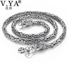 V.YA Punk Stil Echt Silber Drachen Halskette Männer Kette 925 Sterling Silber Halsketten für Männer Mens 50cm 55cm 60cm