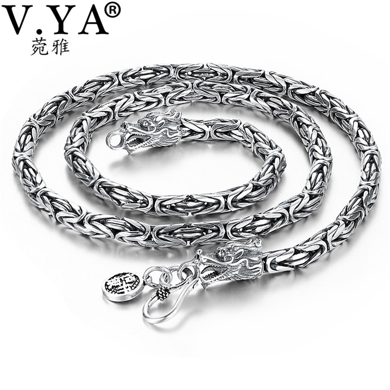 V.YA Punk Style Real Silver Dragon Necklace Men Chain 925 Sterling Silver Necklaces for Male Mens 50cm 55cm 60cm punk style silver plated etched star circle pendnat necklace for men