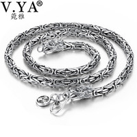 V.YA Punk Style Real Silver Dragon Necklace Men Chain 925 Sterling Silver Necklaces for Male Mens 50cm 55cm 60cm