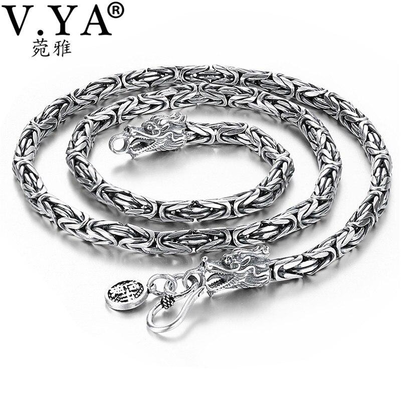 V.YA Punk estilo Real dragón plateado collar hombres cadena 925 Sterling Silver collares para hombres 50cm 55cm 60cm Colgantes de plata de ley 925 de alta calidad con cuentas de Arbol de la vida compatibles con la pulsera Pandora Original