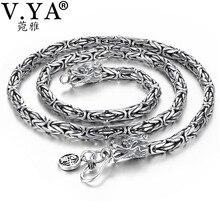 V. ya punk estilo real prata dragão colar masculino corrente 925 prata esterlina colares para masculino 50cm 55cm 60cm