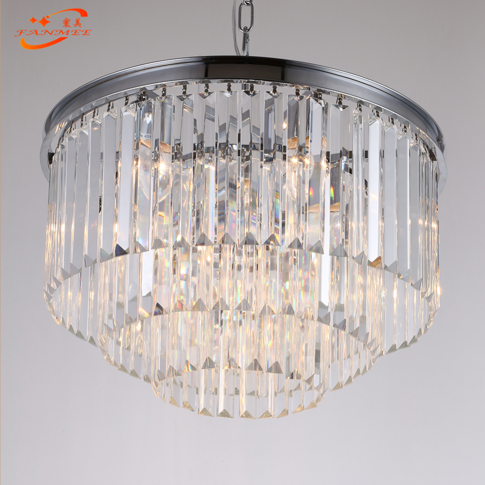 Modern K9 Crystal Prism Chandelier Lighting Retro LED Cristal Chandelier Lamp Hanging Light Luxury Lustre de Cristal