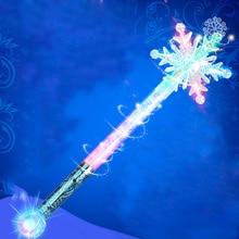 Snow Queen fagyasztotta Elsa varázspálcáját Hópehely ragyogó jogász Flash Stick Tündér mágikus pálca Projection Toy Ajándékok a Girls