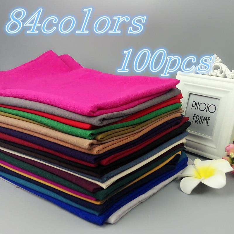 A5 100PCS lot High Quality Plain Bubble Chiffon Shawls Headbands Popular Hijab Summer Muslim Scarfs