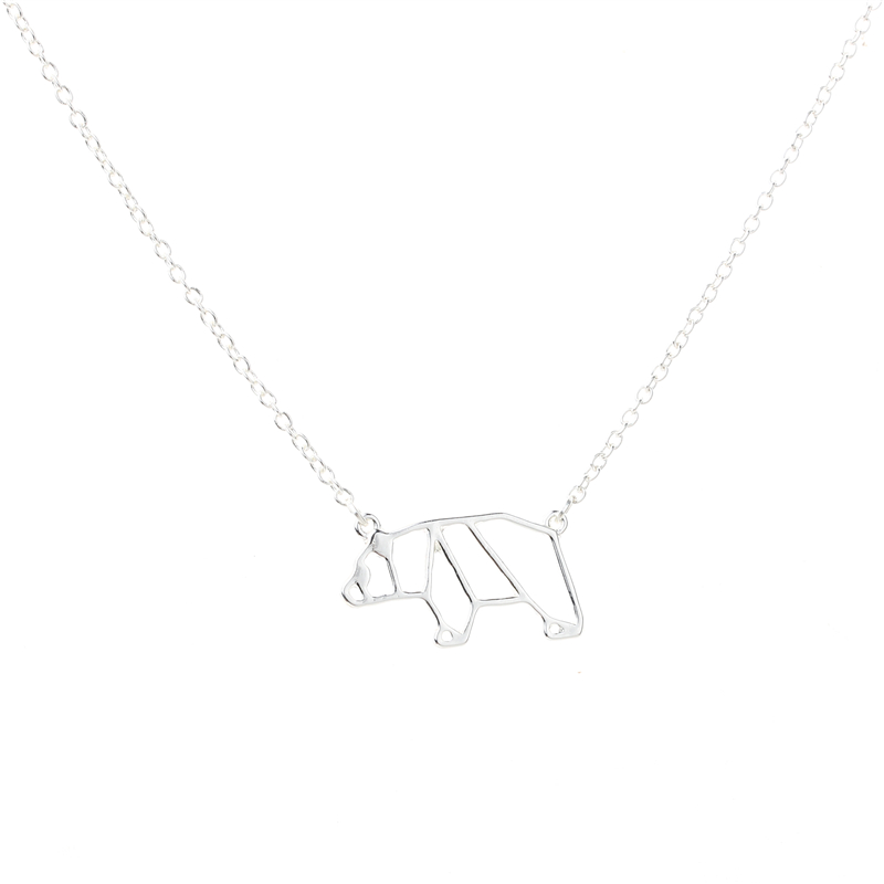 50pcs Lot 2017 Newest Gold Silver Origami Bear Animal Necklace Hollow Mama Jewelry Cute Charm Lovers Gift In Pendant Necklaces From