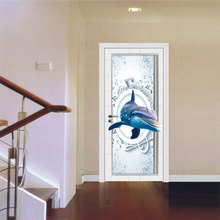 3D Music Dolphin Door Sticker Mural Quotes Bedroom Self-adhesive Door Refurbished Stickers Home Decor