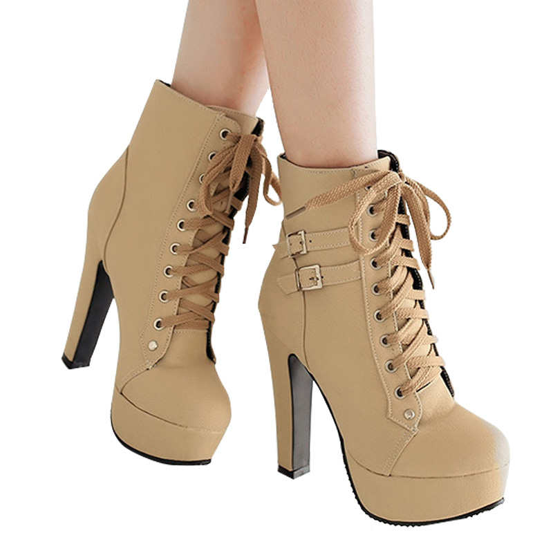 MCCKLE Plus Size Ankle Boots Women Platform High Heels Female Lace Up Women's Shoes Buckle Woman Short Boot Ladies Footwear