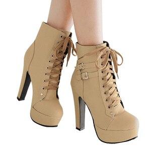 Image 4 - MCCKLE حجم كبير حذاء من الجلد النساء منصة عالية الكعب الإناث الدانتيل يصل أحذية نسائية مشبك امرأة التمهيد القصير السيدات الأحذية