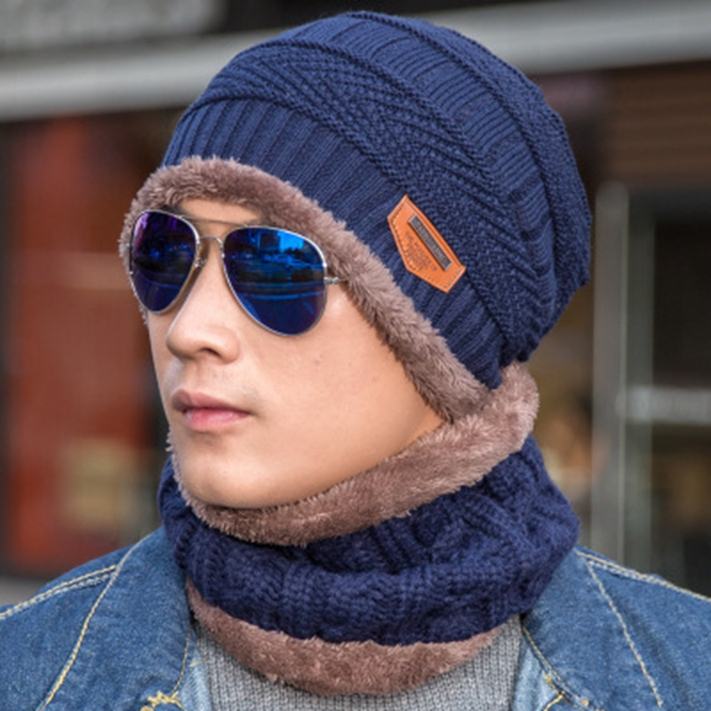 Skullies Beanies Neck Warmer Winter Hat Knit Cap Scarf Cap Winter Hats for Men Knitted Hat Men Beanie Knit Hat Skullies Beanies 2pc skullies