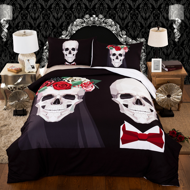 Gothic wedding pattern printed Full Queen King Sizes polyester bed linens set polyester skull duvet cover set bedclothes bed set|Bedding Sets|Home & Garden - title=