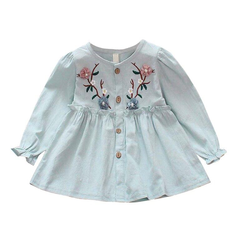 Новое платье с вышивкой для девочек платье принцессы Одежда для младенцев с длинными рукавами милая детская одежда платья для маленьких де...