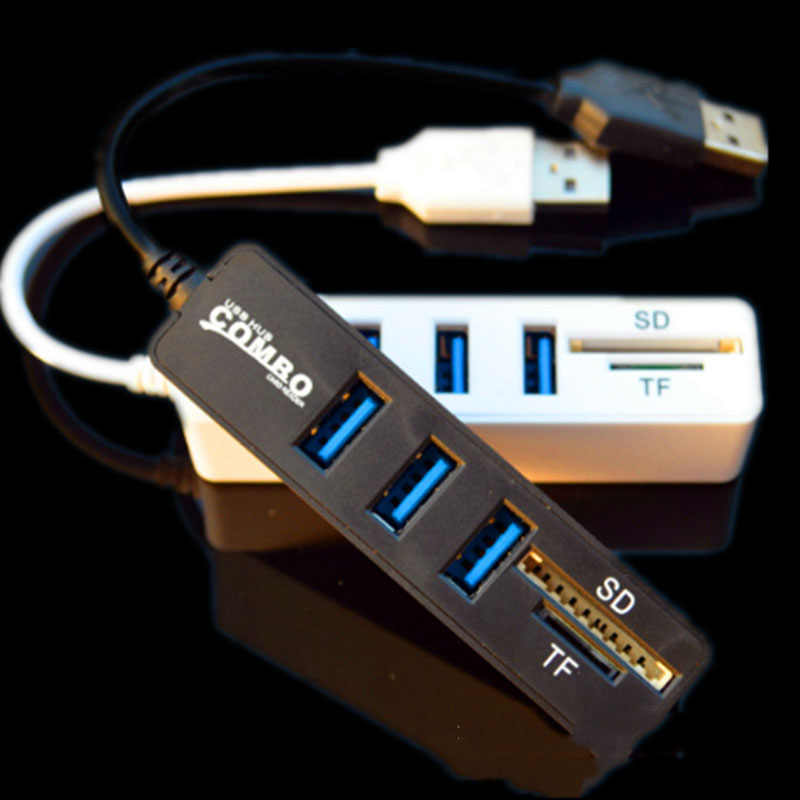 High Quality 2 In 1 Combo 3 Port USB 2.0 HUB Splitter Card Reader for SD TF Micro-SD for PC Laptop Peripherals Accessories