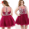 Plus Size Homecoming Dresses 2017 Burgundy Sheer Crew Neck Beaded Illusion Back Short Prom Gowns Maxi Size formal Party Dress