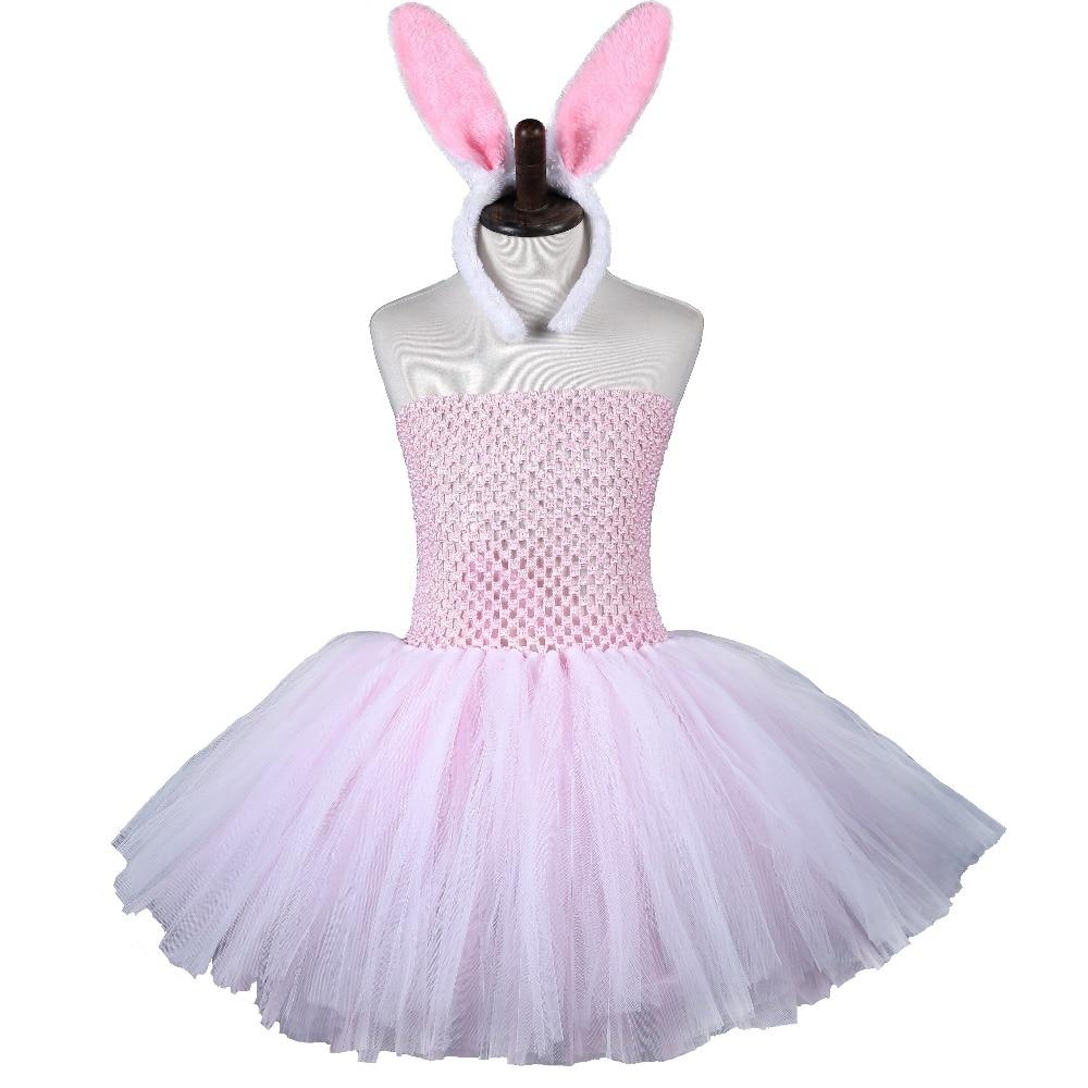 Pink White Easter Tutu Dress Tulle Girl Princess Bunny Costume Kids Baby Girl Rabbit Cosplay Dresses Lovely Birthday Party Tutus