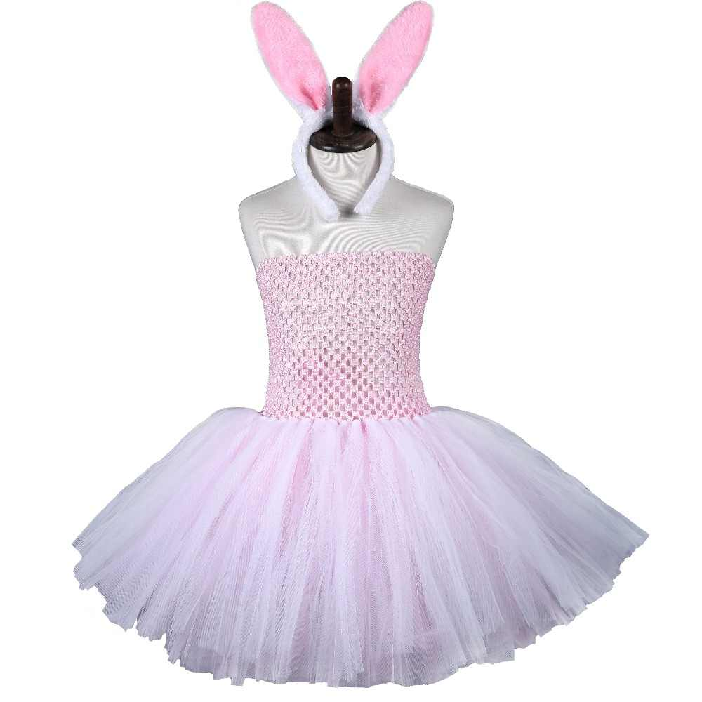 4496410ef751 Pink White Easter Tutu Dress Tulle Girl Princess Bunny Costume Kids Baby  Girl Rabbit Cosplay Dresses