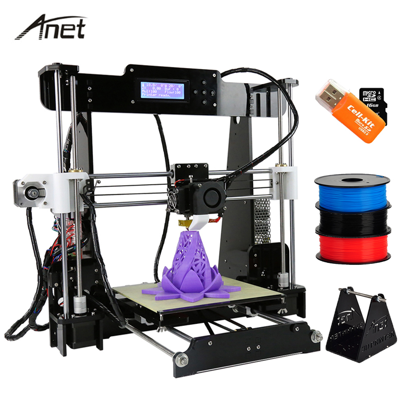 Anet A8 Reprap i3 impressora 3D Printer Large Printing Size  Electronic Imprimante 3D Printers DIY Kit With Filament SD Card 2017 anet a8 3d printer high precision reprap impressora 3d printer kit diy large printing size with 1rolls filament 8gb sd card
