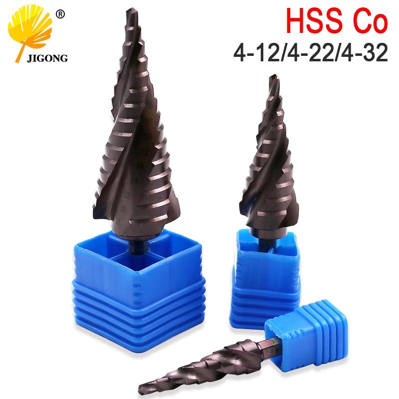 Metric Spiral Flute The Shape Hole Cutter 4-12mm 4-22mm 4-32mm HSS Steel Cone Drill Bit Set HSS  Co M35 Steel Step Sharpening
