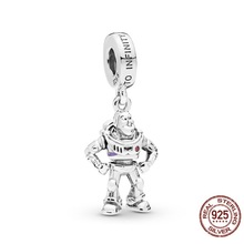 2019 New 925 Sterling Silver Beads Toy Story Buzz Lightyear Pendant Charm fit Original Pandora Bracelets Women DIY Jewelry 925 sterling silver beads toy story jessie pendant charms fit original pandora bracelets women diy jewelry