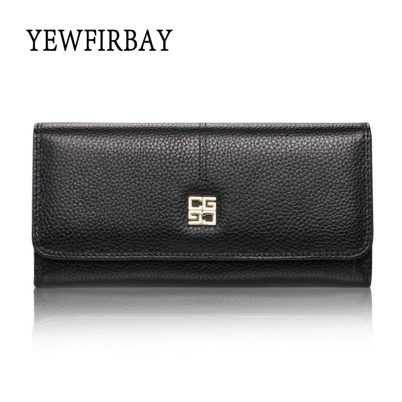 YEWFIRBAY Women Wallet  Brand design Genuine leather wallets female clutch purse New fashion Long lady card holder new fashion women leather wallet deer head hasp clutch card holder purse zero wallet bag ladies casual long design wallets