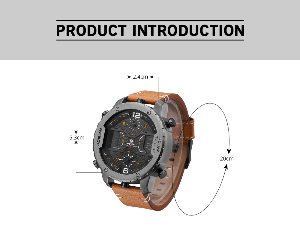 Topdudes.com - WEIDE Sports Relogio Masculino Leather Strap Digital Calendar & Date Quartz Wristwatch