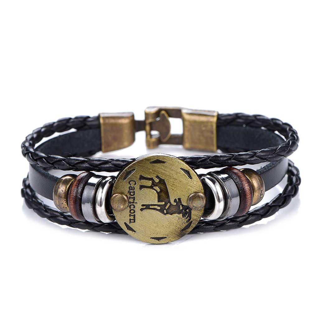 Новый подарок на день рождения панк Знаки зодиака Овен браслет «Лев» созвездия браслеты мужские Девы с подвеской со знаком Рыб женщин Прямая поставка