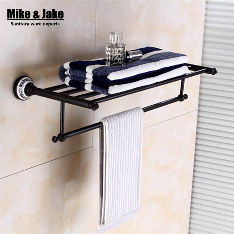 Whole brass Blackend Antique ceramic bath towel rack bathroom towel shelf bathroom towel holder Antique black Double towel shelf whole brass blackend antique ceramic bath towel rack bathroom towel shelf bathroom towel holder antique black double towel shelf