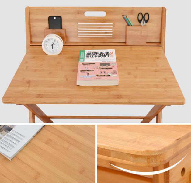 90 * 74 * 71 CM Bambuskrivbord Skrivbord Fällbart studiebord - Möbel - Foto 4