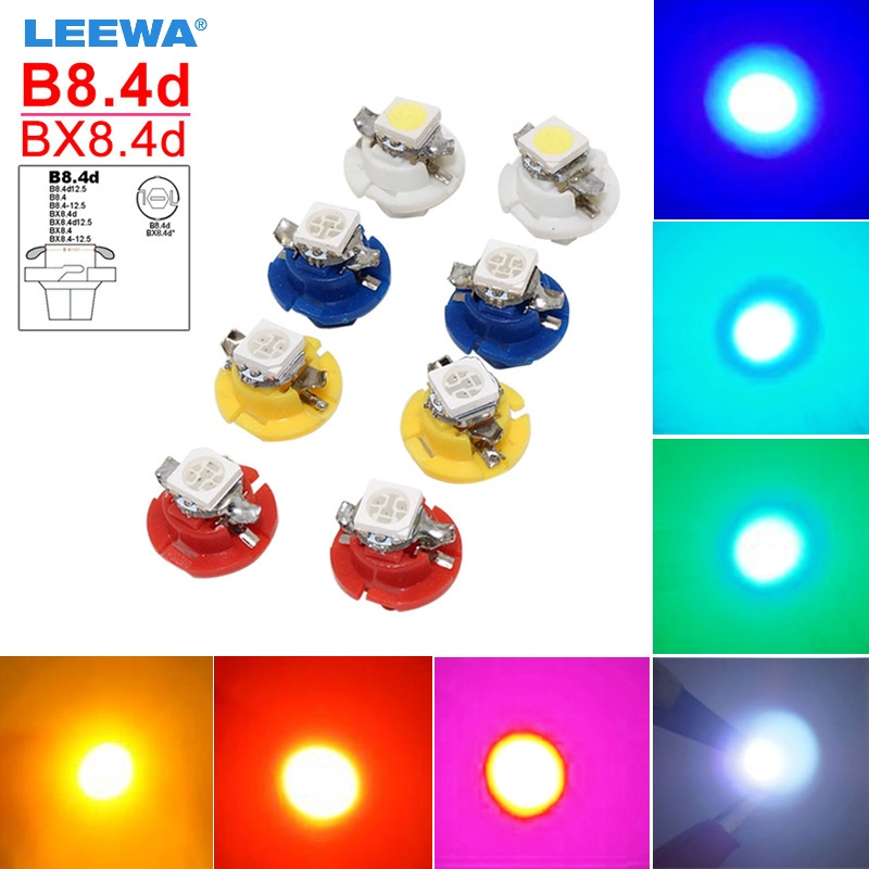 LEEWA 5PCS Car 12V B8.4d/BX8.4d 1SMD 5050 Gauge Dashboard LED Light Interior Lamp White/Blue/Red/Green/Pink/Ice blue #CA4236 uxcell 10 pcs ice blue 3020 smd led vehicles car dashboard dash light lamp internal