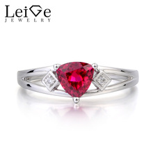 Leige Jewelry Ruby Ring Anniversary Ring Red Gems July Birthstone Trillion Cut Gemstone 925 Sterling Silver Ring Gifts for Her