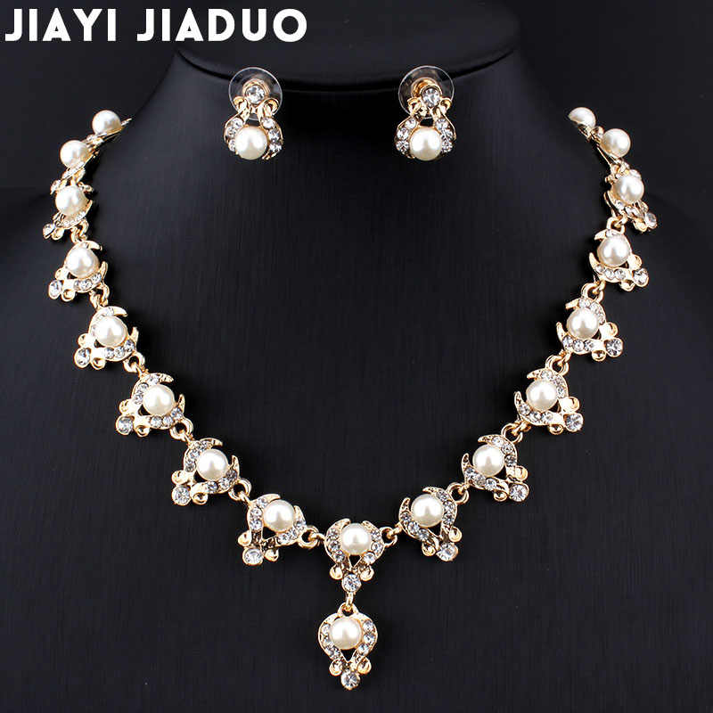 jiayijiaduo bridal elegant and elegant jewelry set for women gold-color crystal imitation pearl necklace earrings jewelry set