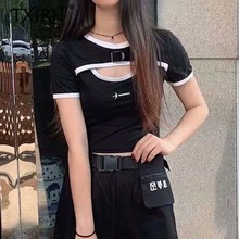 TXJRH Sexy Letter Print Embroidery Chest Hollow Out Short Sleeve Black Tee Stylish Streetwear O-Neck Pullover Short T-Shirt Tops цена 2017