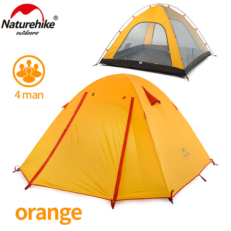 NatureHike P Series Classics Tent 210T Fabric For 4 Person NH15Z003-P 215*215*130 cm Double Layer Outdoor Camping Hike Travel high quality outdoor 2 person camping tent double layer aluminum rod ultralight tent with snow skirt oneroad windsnow 2 plus