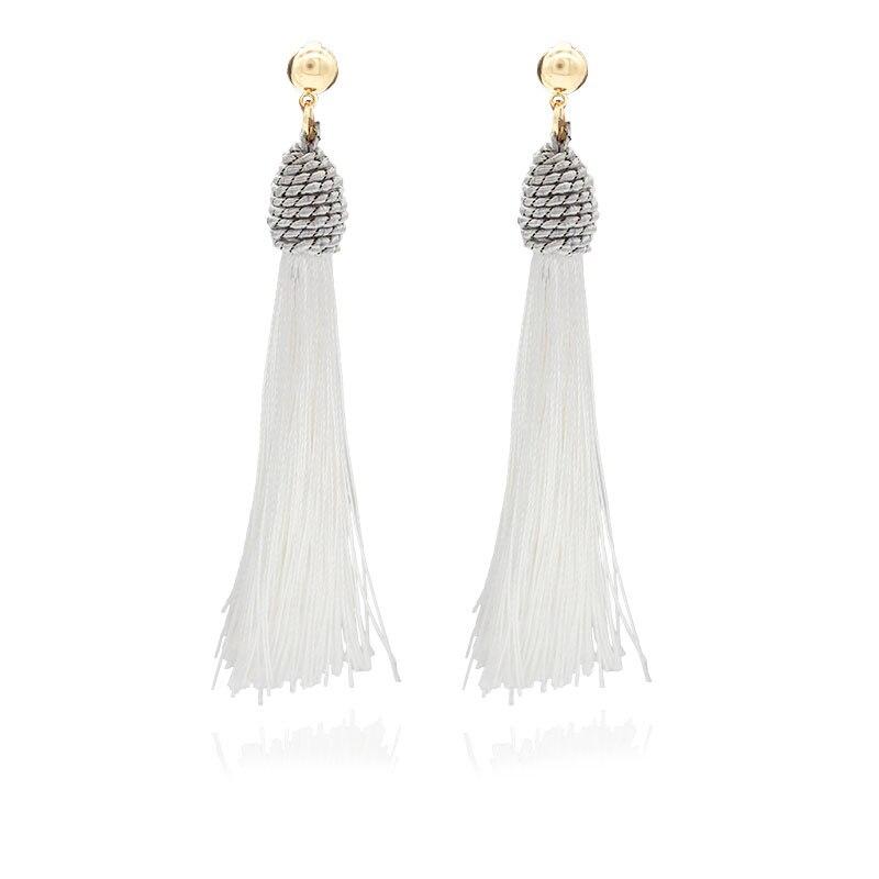 Dangle Earring Clip on Screw Backs Cross Crystal Long Tassel Thread for Girl Kid Wedding Blue