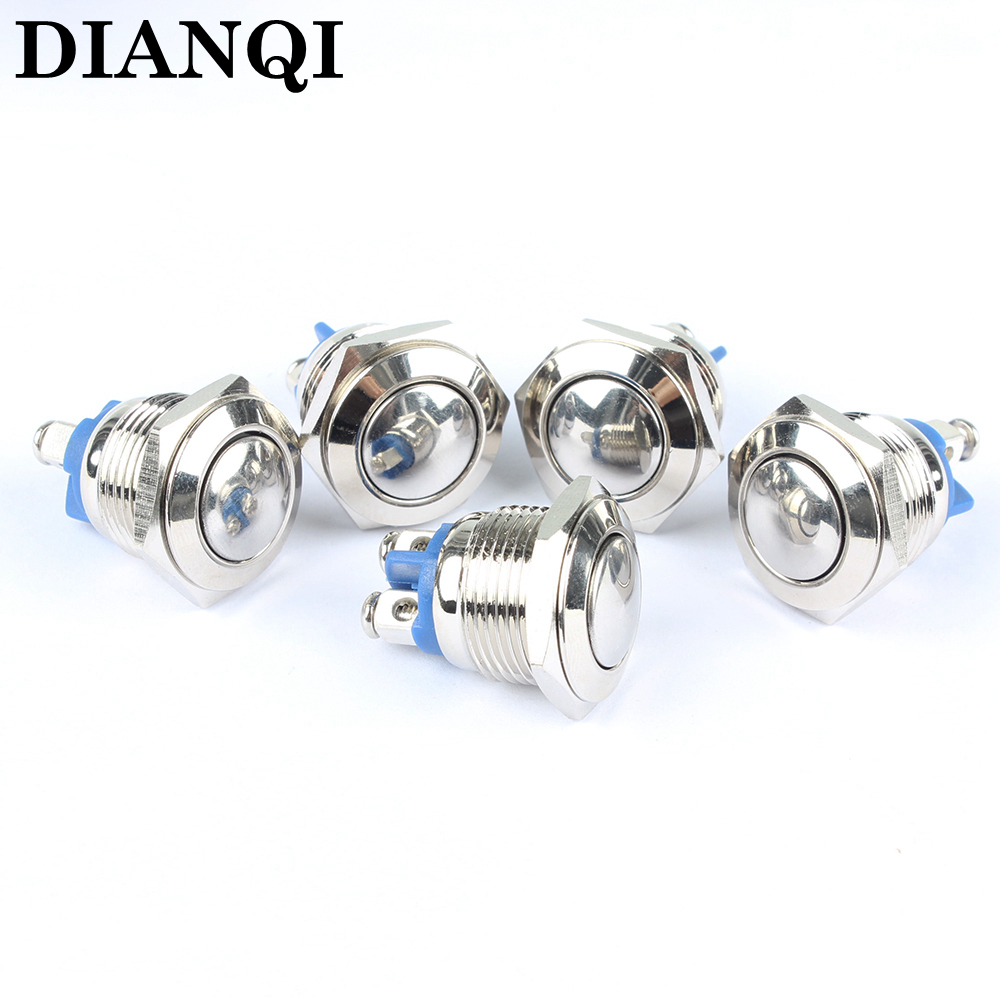 16mm metal push button waterproof nickel plated brass car button switch press button 1NO domed head momentary 16QX,F.L