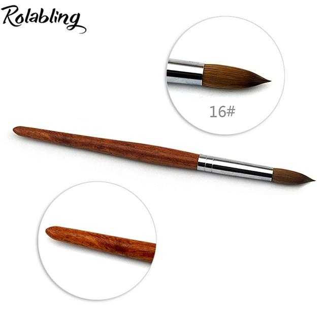 16 # Acrílico Nail Art brush 100% Kolinsky Sable Pluma Roja de madera Cepillo para Uñas de acrílico Arte Cepillo de UÑAS de ARTE de Pintura Mango de cepillo