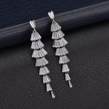 Fan-Shaped Geometric Dangle Earrings For Women Long Earring Luxury Fashion Zircon Wedding Pendientes 925 Sterling Silver Ear Pin