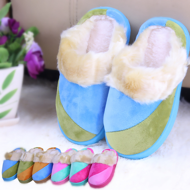 New winter children shoes kids boys girls slippers patchwork slip resistant soft plush warm comfortable home shoes for boy girl