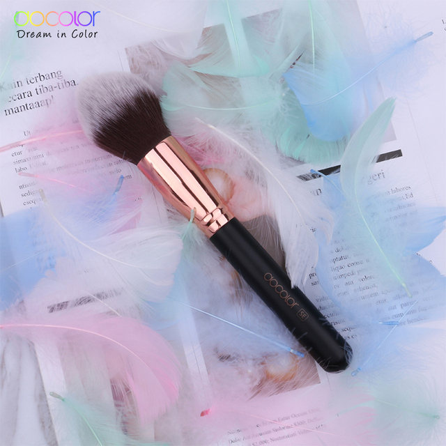 Docolor Black Big Powder Makeup Brushes Soft Highlight Single Glitter Handle Professional Synthetic Hair brushes Beauty Tool 6