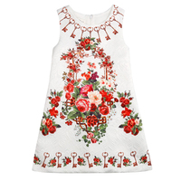 Europese en Amerikaanse kinderkleding herfst en winter nieuwe kinderkleding vest retro bloemen jurk meisjes herfst jurk