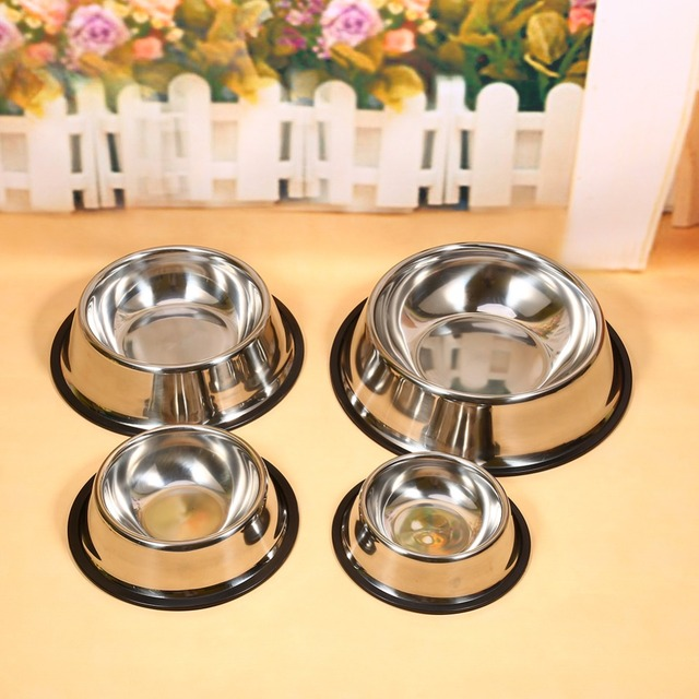 Dog Bowl Stainless Steel Travel Feeding Feeder Water Bowl For Pet Dog Cat Puppy  Food Bowl Water Dish 4 Sizes