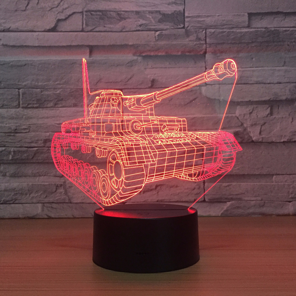 Cool Tank 3d Night Light Touch Switch 7 Colors Changing LED Table Lamp Visual USB Night Lights Home Decor For Kids Toy New Gift