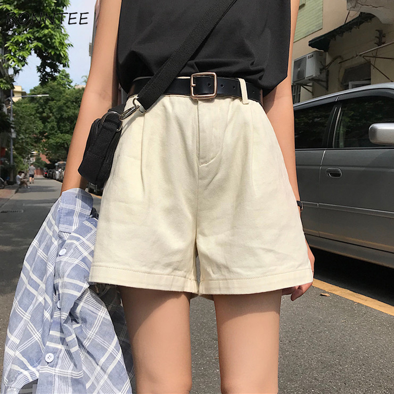 Shorts Women Solid High Waist All-match Korean Style Simple Zipper Pockets Harajuku Streetwear Clothing Womens Leisure Students