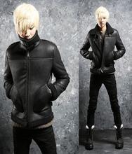 Black winter warm male leather jackets slim fit mens fur short coat long sleeve man casual thermal plus velvet outerwear XL