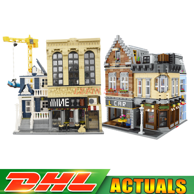 DHL LEPIN 15034 The New Building City+ 15035 MOC The Bars and Financial Set Model Education Building Block Bricks DIY Toys Gifts цены