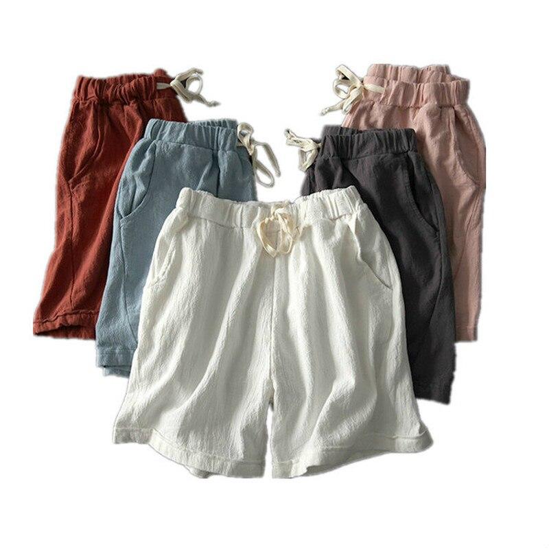 M-4XL Women's Summer New Cotton and Linen Loose   Shorts   Girls Elastic Waist Five Cotton Casual Wild Wide Leg   shorts